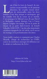 David et bethsabée ; mariage et prédéstination dans la cabale - 4ème de couverture - Format classique