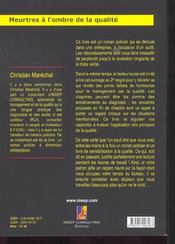 Meurtres A L'Ombre De La Qualite. Roman Policier A L'Usage Des Managers - 4ème de couverture - Format classique