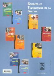 Economie ; terminale stg - 4ème de couverture - Format classique
