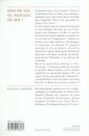 Don De Soi Ou Partage De Soi ? - 4ème de couverture - Format classique