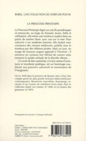 La princesse Printemps - 4ème de couverture - Format classique