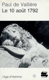 Le 10 Aout 1792 - Couverture - Format classique