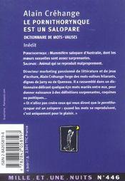 Le pornithorynque est un salopare - 4ème de couverture - Format classique