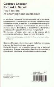 Feux Follets Et Champignons Nucleaires - 4ème de couverture - Format classique