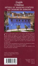 Guide des hotels et maisons d'hotes de charme en espagne 2001 - 4ème de couverture - Format classique