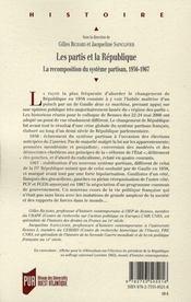 Partis Et La Republique. La Recompostion Du Systeme Partisan Entre 1956 Et 1 - 4ème de couverture - Format classique