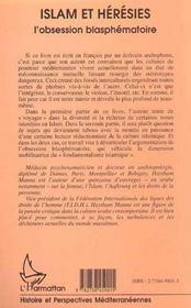 Islam Et Heresies, L'Obsession Blasphematoire - 4ème de couverture - Format classique