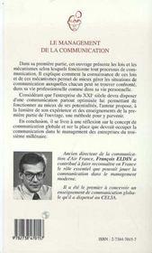 Management De La Communication (Le) De La Communicatio - 4ème de couverture - Format classique
