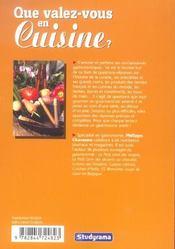Que valez-vous en cuisine ? - 4ème de couverture - Format classique