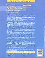 Les erreurs d'orthographe à l'école ; diagnostic et remédiation ; cycles 2 et 3 - 4ème de couverture - Format classique
