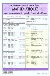 Problemes Corriges De Mathematiques Mines/Ponts Tome 8 2001-2002 Mp-Pc-Psi - 4ème de couverture - Format classique