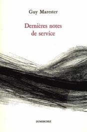 Dernieres Notes De Service - Couverture - Format classique