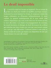 Le Deuil Impossible - 4ème de couverture - Format classique