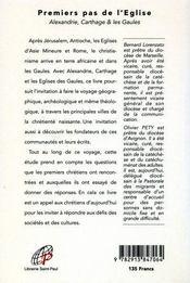 Premiers pas de l'eglise t.2 ; alexandrie, carthage, les gaules, parcours historique - 4ème de couverture - Format classique