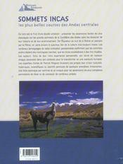 Sommets incas ; les plus belles courses des Andes centrales - 4ème de couverture - Format classique