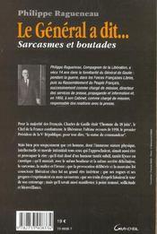 Le general a dit ; sarcasmes et boutades - 4ème de couverture - Format classique