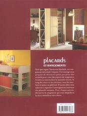Placards et rangements - 4ème de couverture - Format classique
