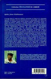 Québec, forme d'établissement ; étude de géographie régionale structurale - 4ème de couverture - Format classique