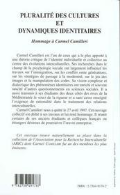 Pluralite Des Cultures Et Dynamiques Identitaires ; Hommage A Carmel Camilleri - 4ème de couverture - Format classique