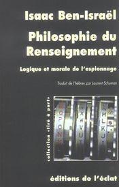 Philosophie Du Renseignement - Intérieur - Format classique
