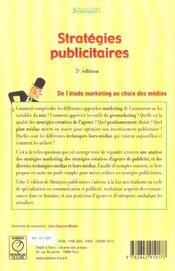 Strategies Publicitaires (Synergies) - 4ème de couverture - Format classique