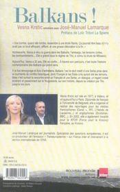 Balkans ! Entretiens Avec Jose-Manuel Lamarque - 4ème de couverture - Format classique