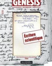 Genesis N.20 ; Ecriture Scientifique - Couverture - Format classique