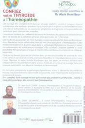 Confiez Votre Thyroide A L'Homeopathie - 4ème de couverture - Format classique