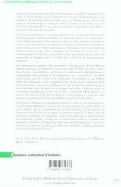 L'exécution publique à Paris au XVIIIe siècle ; une histoire des rituels judiciaires - 4ème de couverture - Format classique