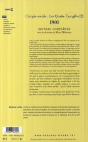 Oeuvres complètes t.19 : l'utopie sociale : les quatre Evangiles t.2 ; 1901 : travail ; l'ouragan ; Violaine la chevelue ; l'enfant roi - 4ème de couverture - Format classique