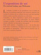 L'exposition de soi - 4ème de couverture - Format classique