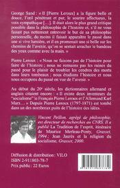 Pierre Leroux Et Le Socialisme Republicain - 4ème de couverture - Format classique
