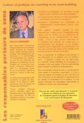 Les Responsables Porteurs De Sens ; Culture Et Pratique Du Coaching Et Du Team-Building - 4ème de couverture - Format classique