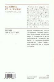 Le Rythme Et La Lumiere - 4ème de couverture - Format classique