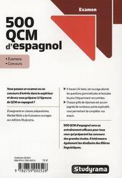 500 Qcm D'Espagnol - 4ème de couverture - Format classique