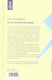 Je Me Souviens Du Futur ; Du Devenir De La Franc-Maconnerie - 4ème de couverture - Format classique