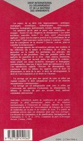 Droit International Du Desarmement Et De La Maitrise Des Armements - 4ème de couverture - Format classique