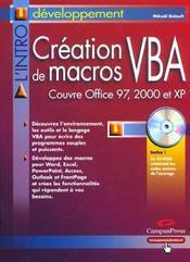 L'Intro Creation Macros Vba / 97,2000,xp - Intérieur - Format classique