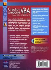 L'Intro Creation Macros Vba / 97,2000,xp - 4ème de couverture - Format classique