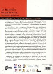 Francais : Des Mots De Chacun Une Langue Pour Tous. Des Francais Parles A La Lan - 4ème de couverture - Format classique