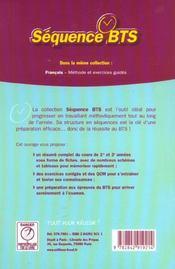 Sequence Bts - 4ème de couverture - Format classique