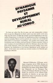 Dynamique Paysanne Et Developpement Rural..Congo - 4ème de couverture - Format classique