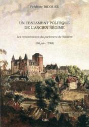 Testament Politique De L'Ancien Regime - Couverture - Format classique