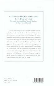 La Noblesse Et L'Eglise En Provence Fin X-Debut Xiv Siecle - 4ème de couverture - Format classique