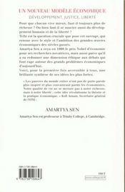 Le Developpement Et La Liberte ; Un Nouveau Modele Economique - 4ème de couverture - Format classique