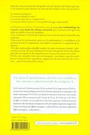 Concours Administratifs ; Categorie A ; Epreuve De Culture Generale - 4ème de couverture - Format classique