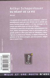 Du Neant De La Vie - 4ème de couverture - Format classique