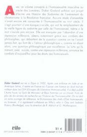 L'amour philosophique , l'homosexualite masculine au siecle des lumieres - 4ème de couverture - Format classique