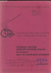 Troisiemes Journees Medicales Nationales D'Etude Sur Le Sport Pour Les Handicapes Physique - Couverture - Format classique