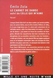 Le Carnet De Danse - 4ème de couverture - Format classique